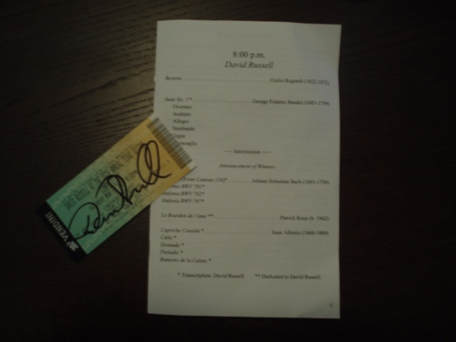 David Russell Guitar Concert Ticket & Program